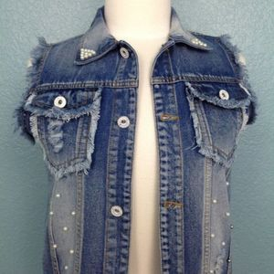 Size 160   Distressed and Pearl Denim Vest